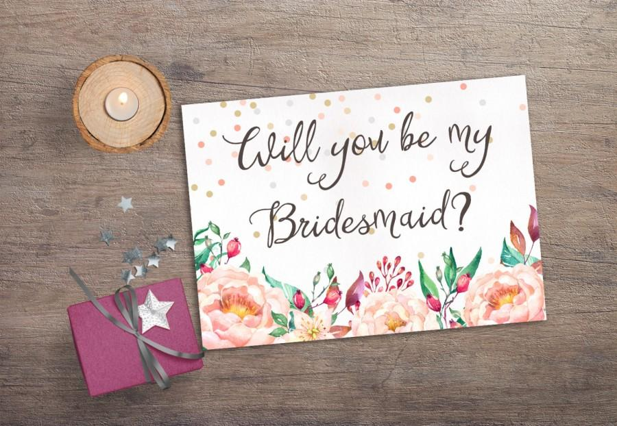 Printable will you be my bridesmaid printable bridesmaid card printable will you be my bridesmaid printable bridesmaid card confetti floral bridesmaid invitation boho bridesmaid proposal card stopboris Image collections