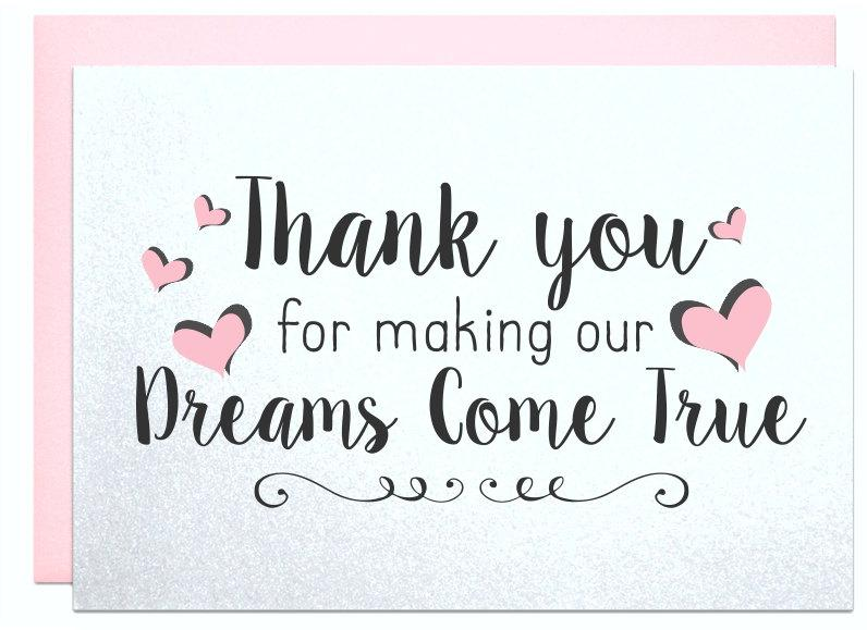 Thank You For Making Our Dreams Come True Thank You Card Caterer – What to Put in a Wedding Thank You Card