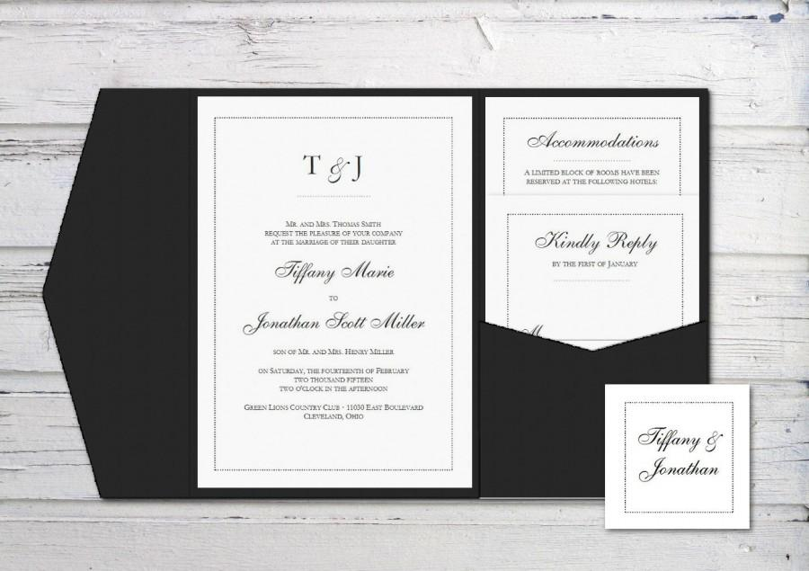 Digital Wedding Invitation, Printable Invitation, Pocketfold ...
