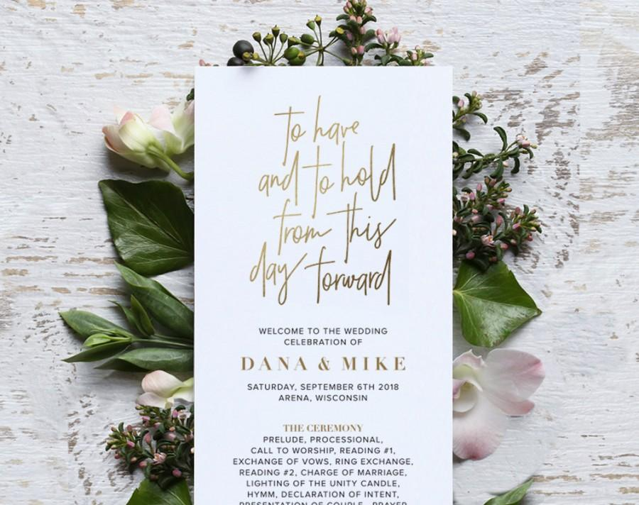 Wedding - Wedding Program Template, Gold Wedding Program Printable, Ceremony Printable Template, Editable Program, PDF Instant Download
