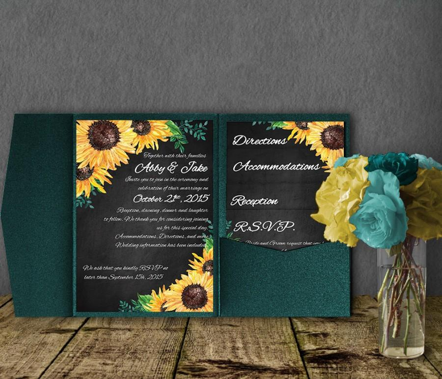 Sunflower Wedding Invitation Template Pocketfold Invitation Suite - Sunflower wedding invitations templates