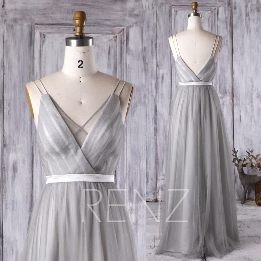 2016 Light Gray Bridesmaid Dress V Neck Spaghetti Straps Wedding Ruched Mesh Prom Backless Evening Gown Floor Length HS285