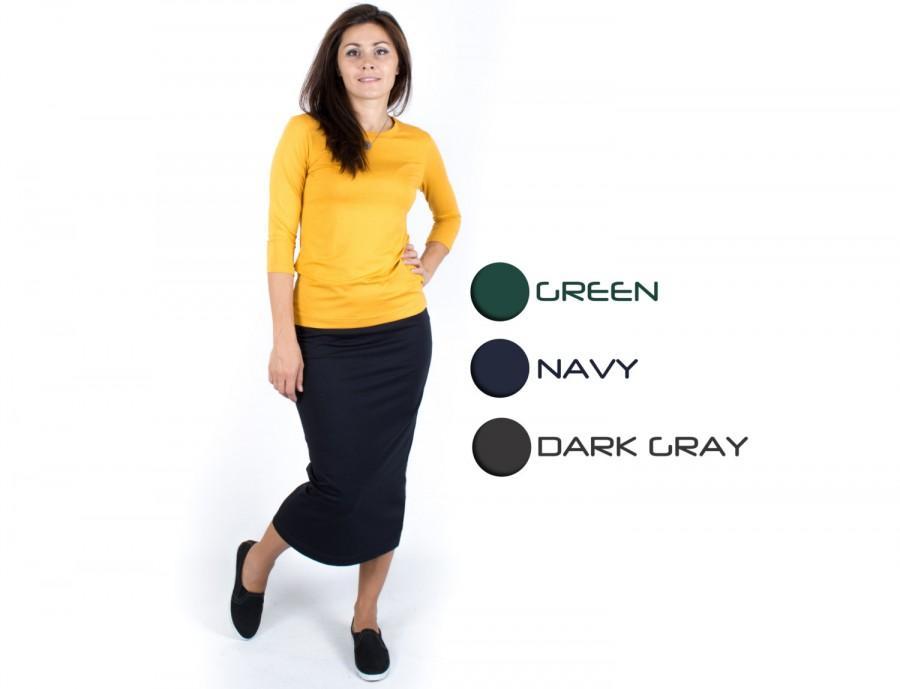 Wedding - Midi pencil skirt Straight skirt Bodycon skirt Gray tight skirt Fitted skirt Navy tube skirt Pull on skirt Stretch midi skirt
