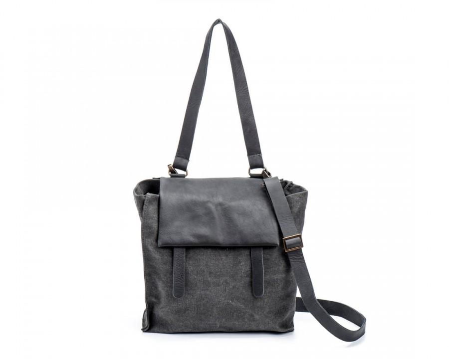 Wedding - New! Women Tote, Canvas and Leather Handbag, Canvas Shoulder Bag, womens Messenger, Capsule Collection