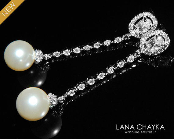 Wedding - Ivory Pearl Cubic Zirconia Earrings Bridal Pearl CZ Long Earrings Swarovski 10mm Pearl Silver Earrings Wedding Earring Bridal Pearl Jewelry