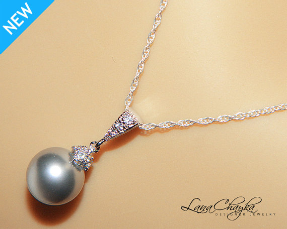 Wedding - Light Gray Pearl Drop Necklace Grey Pearl Sterling Silver CZ Necklace Swarovski 10mm Pearl Pendant Wedding Jewelry Wedding Pearl Necklace