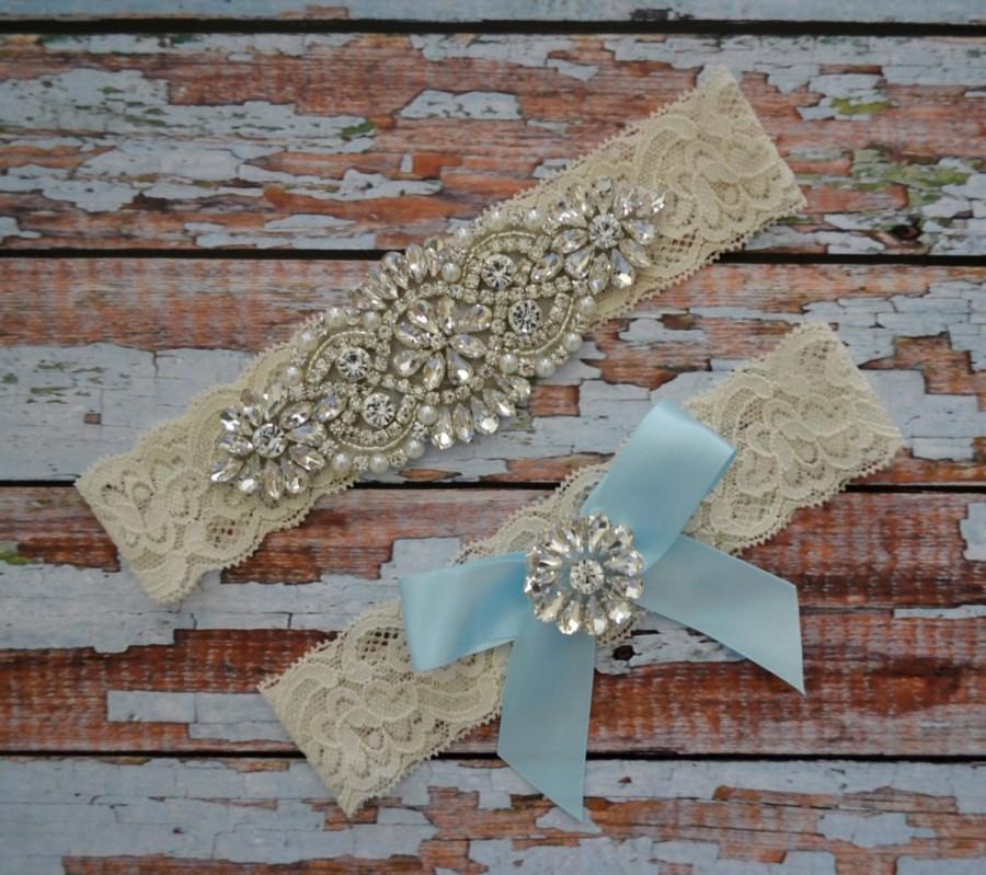 Свадьба - Rhinestone Wedding Garter Set, Something Blue Wedding Garter Set, Bridal Garter Belt, Blue Ribbon Rhinestone & Pearl Bow Toss Garter, B33