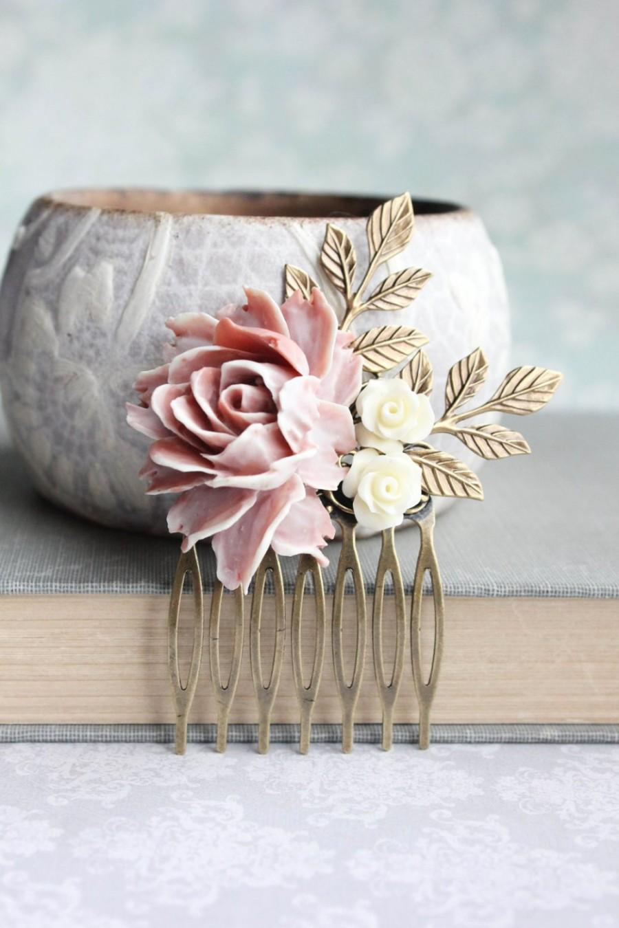 Bridal Hair Comb Dusty Rose Pink Comb Flowers For Hair Accessories