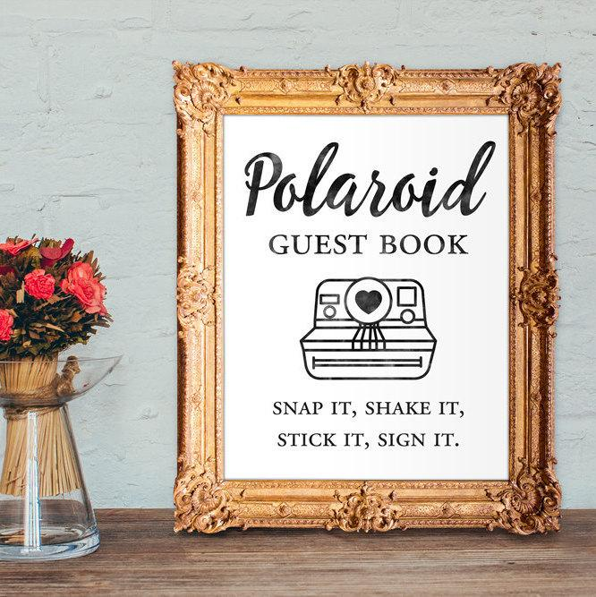Свадьба - Polaroid guest book - snap it, shake it, stick it, sign it - wedding guest book - 8x10 - 5x7