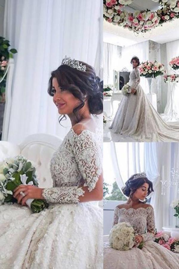 Wedding - Dignified Off Shoulder Long Sleeves Court Train Lace Ruched Wedding Dress