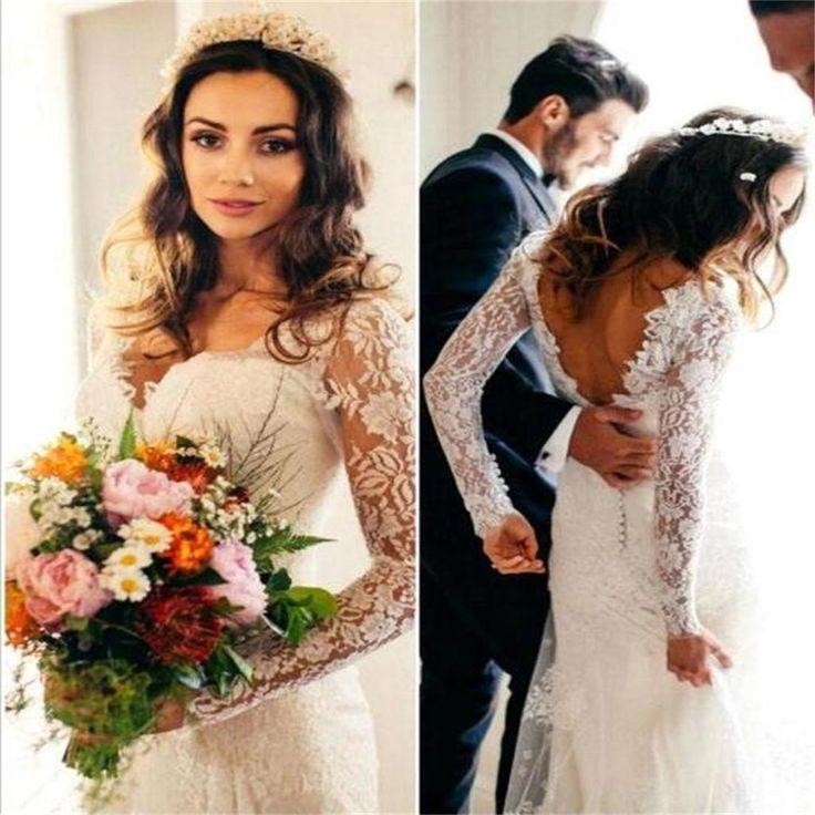 Wedding - Elegant Lace Long Sleeve Wedding Dresss Latest V-Neck Open Back Bridal Dresses , PD0225
