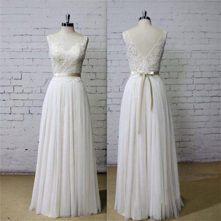 Свадьба - Long Aline Scoop V Back Lace Simple Pretty Beach Summer Tulle Wedding Dresses, WD0201