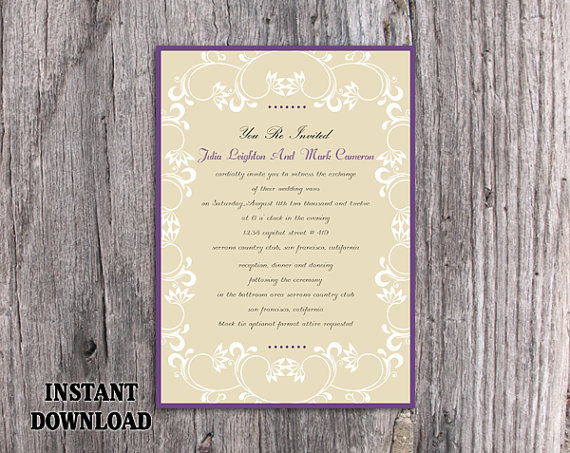 Mariage - DIY Wedding Invitation Template Editable Word File Download Printable Invitation Elegant White Invitations Eggplant Purple Invitation