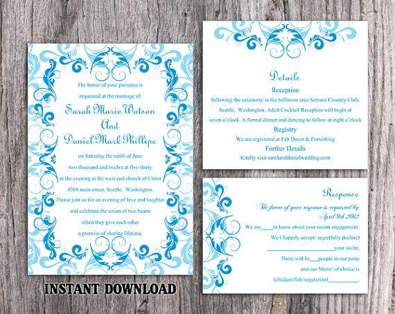 diy wedding invitation template set editable word file With wedding invitation template aqua blue