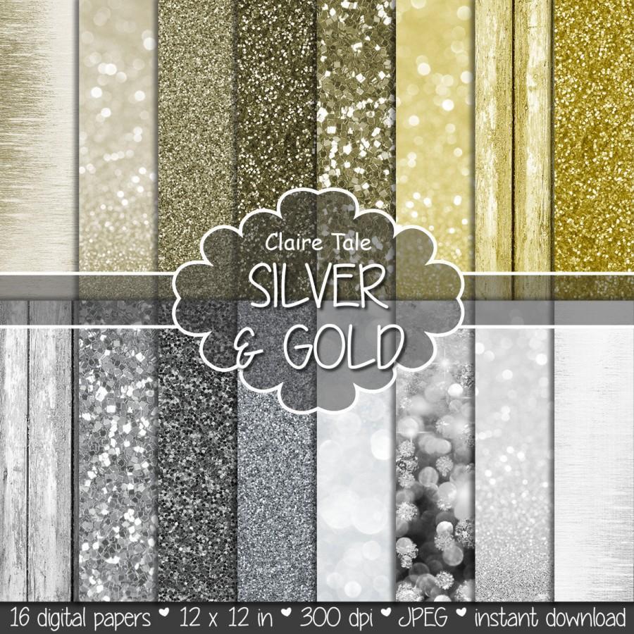 زفاف - Digital bokeh and glitter: SILVER & GOLD PAPER with glitter and bokeh background/backdrop for photographers / gold silver paper