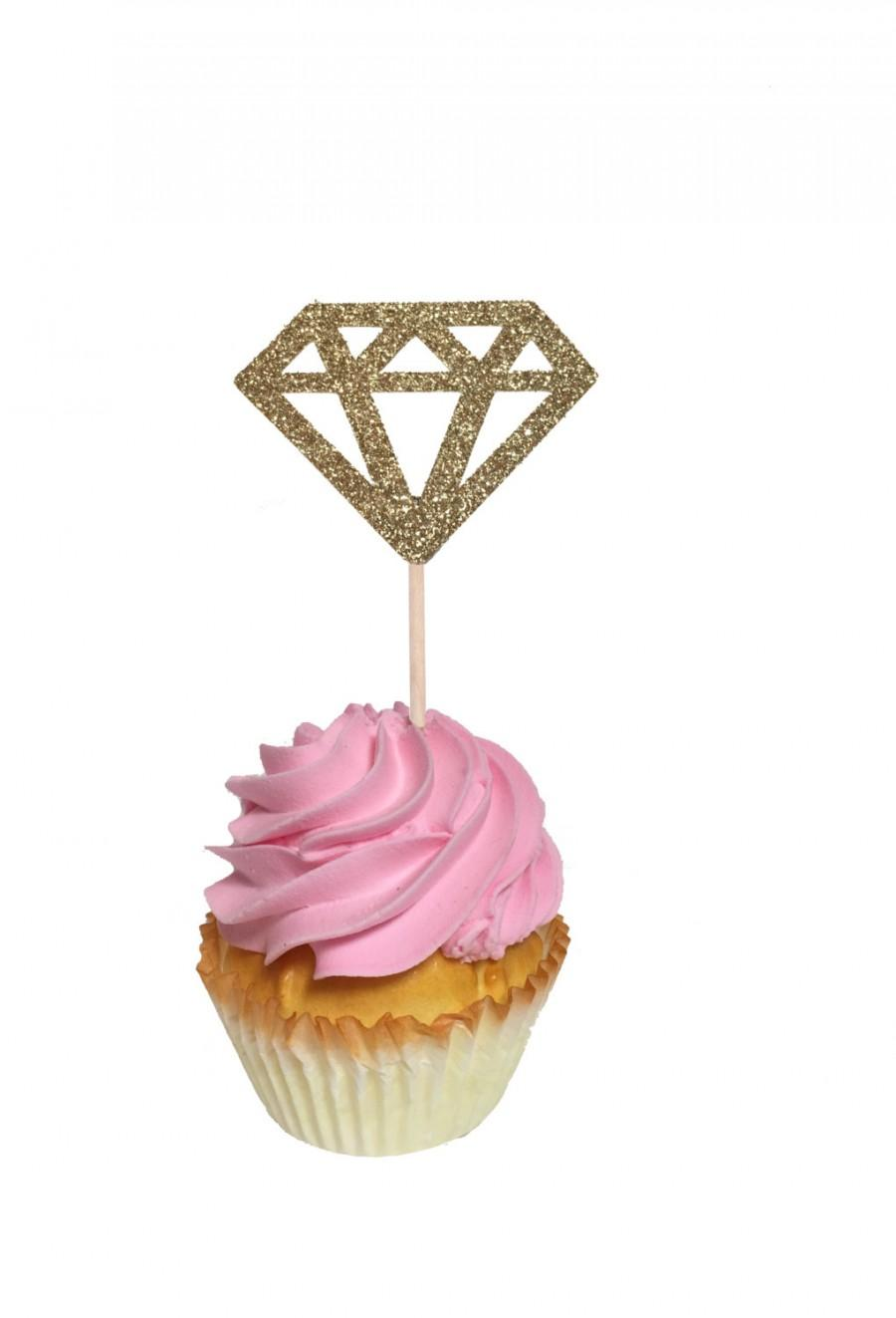 Hochzeit - Engagement Ring Diamond Cupcake Toppers, Donut Toppers - Set of 12