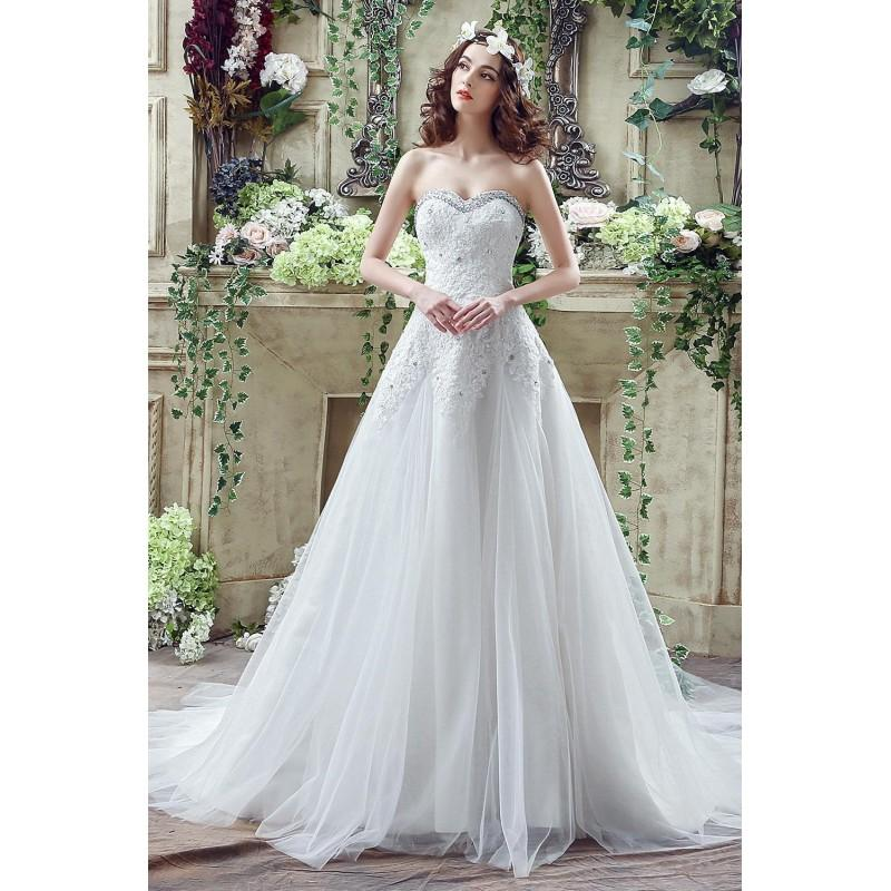 Mariage - Glamorous Sequined Lace Tulle 2016 Wedding Dress Court Train Lace-up, Discount Glamorous Sequined Lace Tulle 2016 Wedding Dress Court Train Lace-up Sale Online