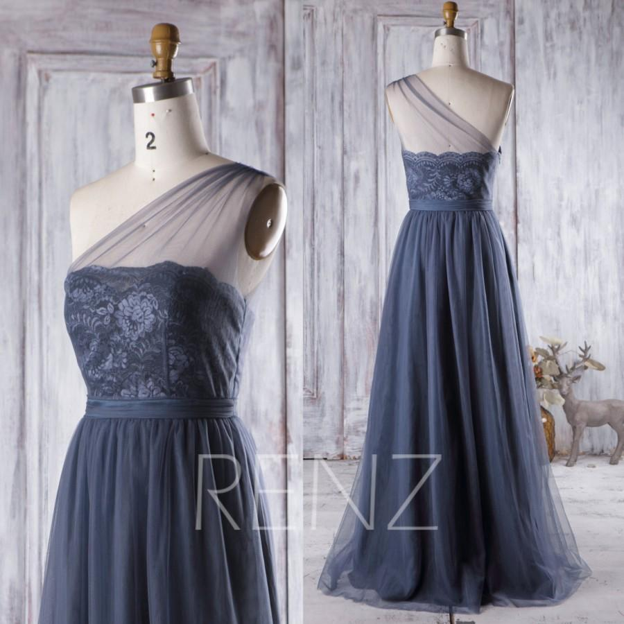 Mariage - 2016 Navy Blue Bridesmaid Dress, Lace Sweetheart Illusion Wedding dress, A Line Mesh Prom Dress, Long Evening Gown Floor Length (HS269)