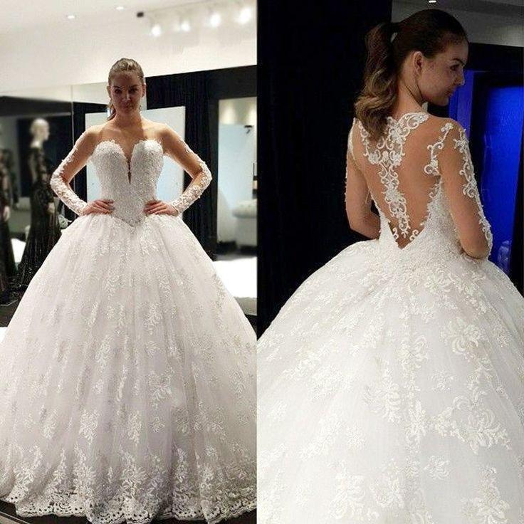 Свадьба - Cheap Stunning Scoop Neck Long Sleeve Lace Ball Gown Wedding Dresses, WD0136