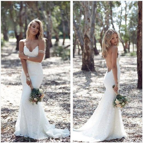 Wedding - Charming Sweetheart Long Mermaid Lace Wedding Dresses, Sexy Backless Tulle Bridal Gown, WD0120