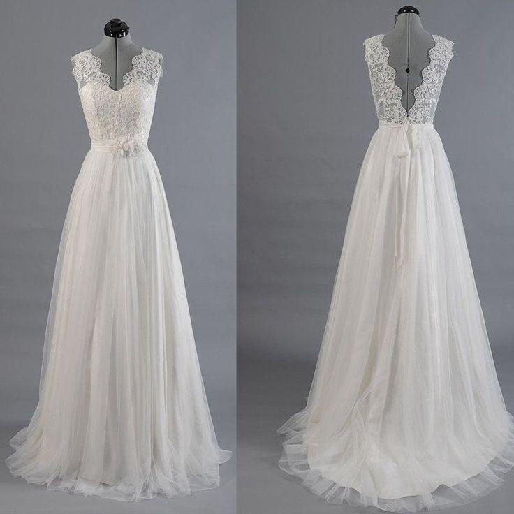 Mariage - Best Sale Vantage V-Back Lace Top Simple Design Wedding Party Dresses, WD0036