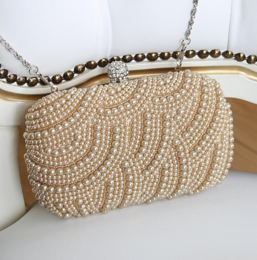 Mariage - Bridal Handbag, Champagne Pearl Bridal Clutch, Bridesmaid Clutch, Pearl Wedding Bag, Bridal Handbag, Bridesmaid Gifts, Evening Handbag
