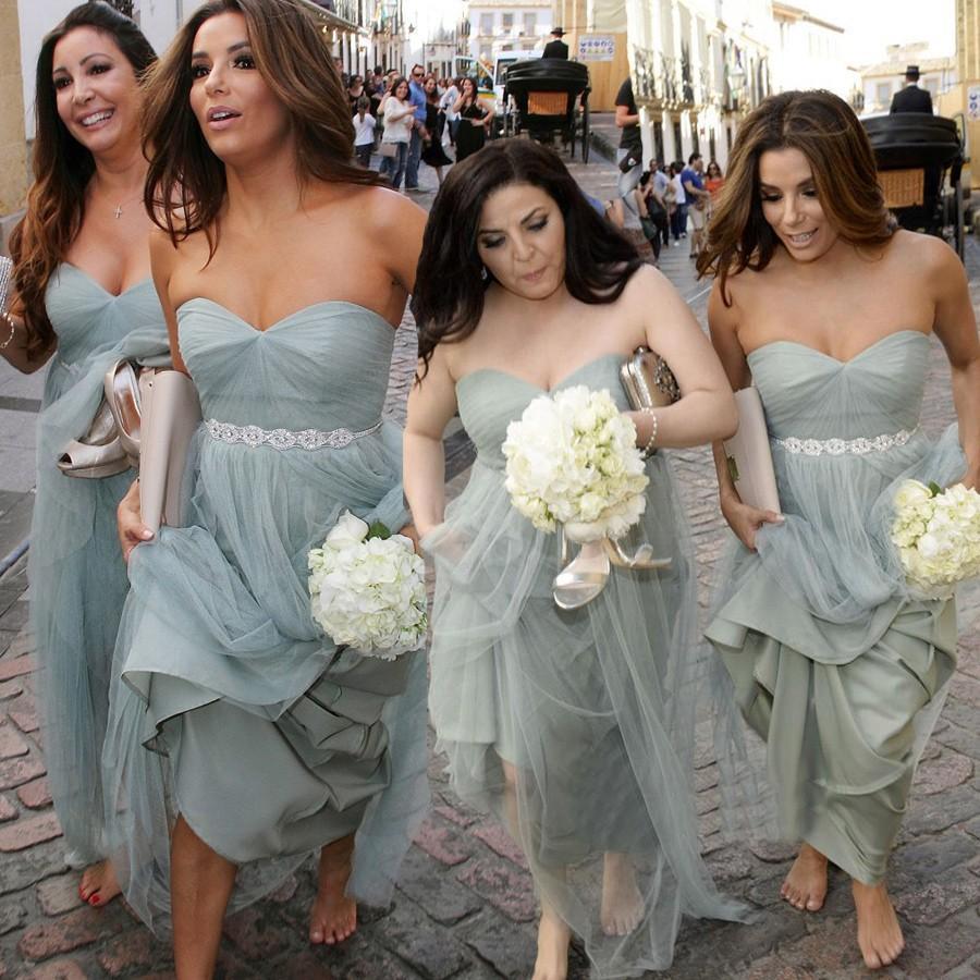 Fashion Sweetheart Ruffles Tulle Grey Long Bridesmaid Dress With