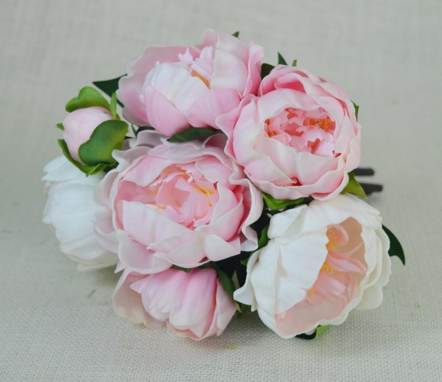Mariage - Pink, Cream Real Touch Flowers Peony Bouquets for Wedding Bridal Bouquets Centerpieces Home Decoration