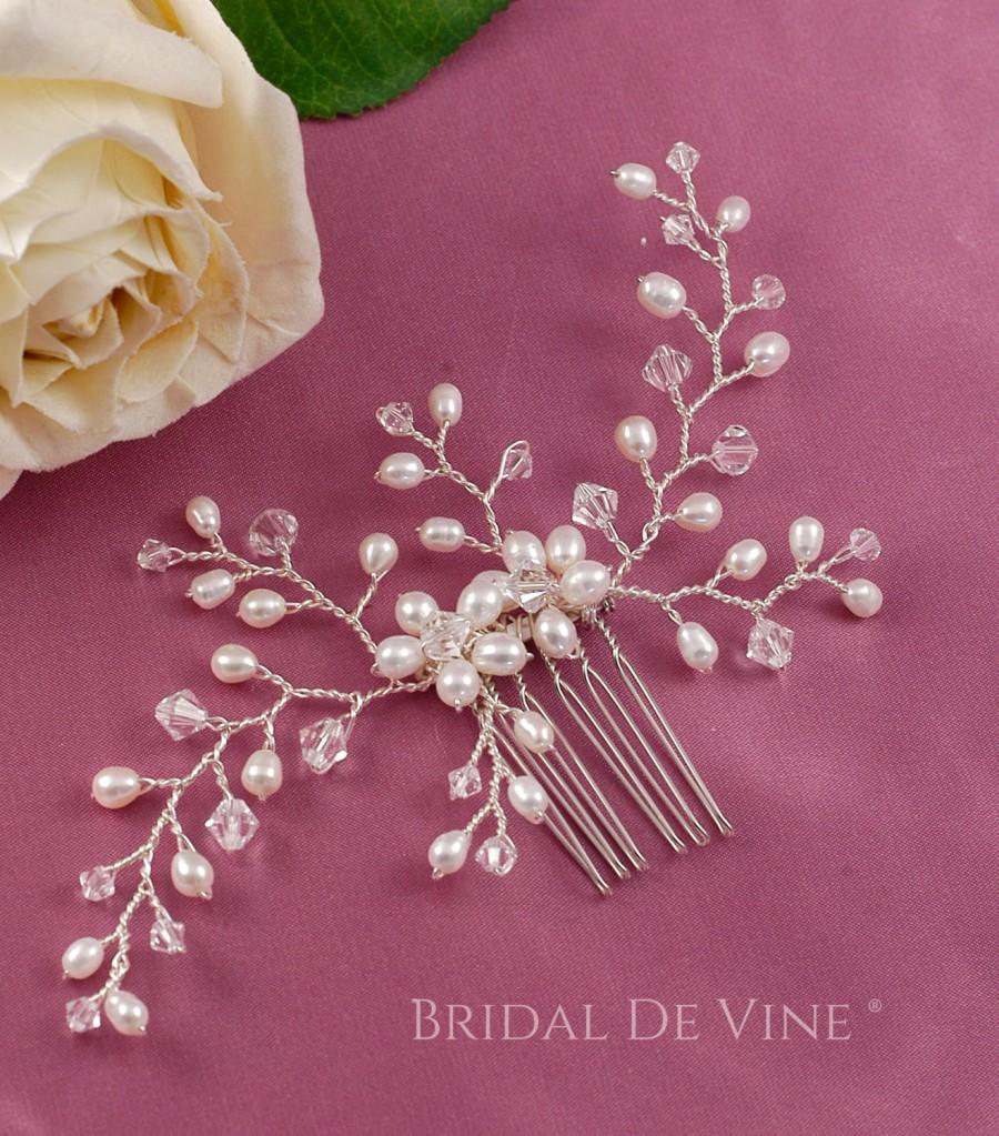 Mariage - Lovely Delicate Pearl and Crystal Flower Spray Hair Comb Made with CRYSTALLIZED™ - Swarovski Elements