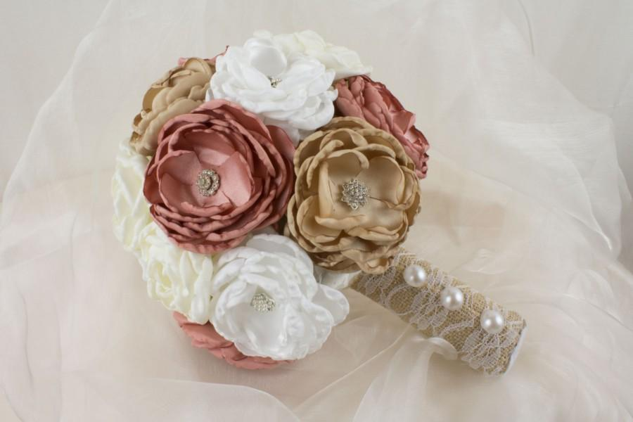 Hochzeit - Fabric Bouquet, Wedding Bouquet, Fabric Flower White Cream Dusty Rose Beige, Vintage Satin Rhinestone Handmade