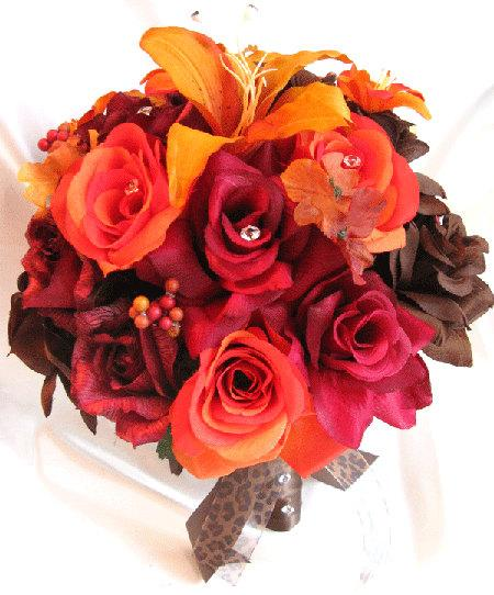 "Mariage - Wedding bouquets Bridal Silk flower BURGUNDY Burnt ORANGE Lily BROWN Fall 17 pcs package Artificial bouquet boutonnieres ""Roses and Dreams"""
