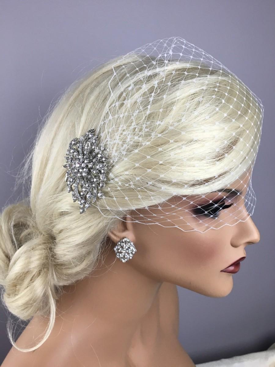 Свадьба - Bridal Vintage Brooch Birdcage, Vintage Brooch Bridal Birdcage Bandeau Or Blusher Veil, Bride Detachable Comb, Bandeu Blusher-