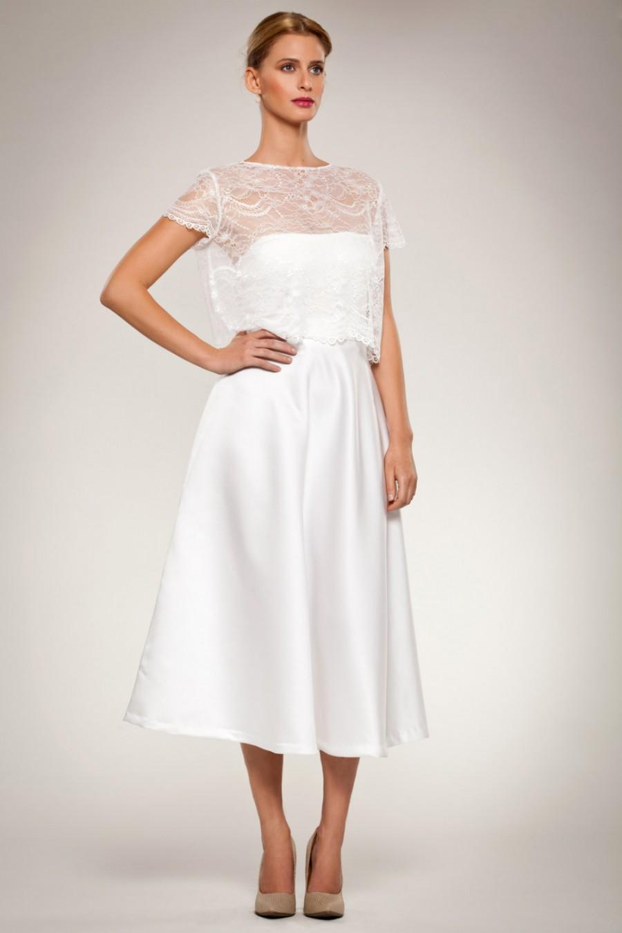 Mariage - Wedding Gown Dress Set- Cropped Lace Short Sleeve Top with Scalloped Edges, Full Calf Length Satin Skirt Mod Romantic Custom Made Strapless