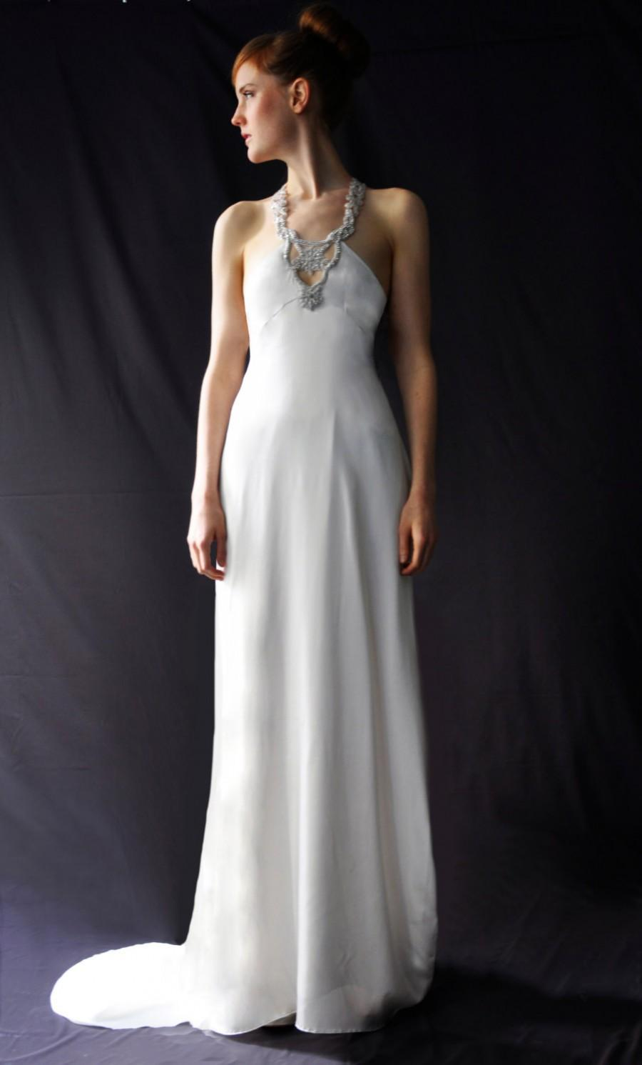 Mariage - As in Brides Magazine: Glamorous Wedding Gown Dress Rhinestones Jeweled Neckline Open Racer Back Fitted Bodice Flared Skirt Custom Made