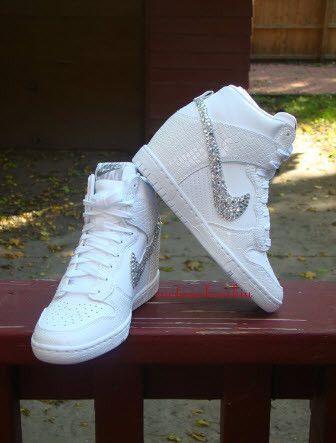 Hochzeit - Custom Bling Rhinestone White Croc Snake Nike Dunk Sky Hi Wedge Sneaker