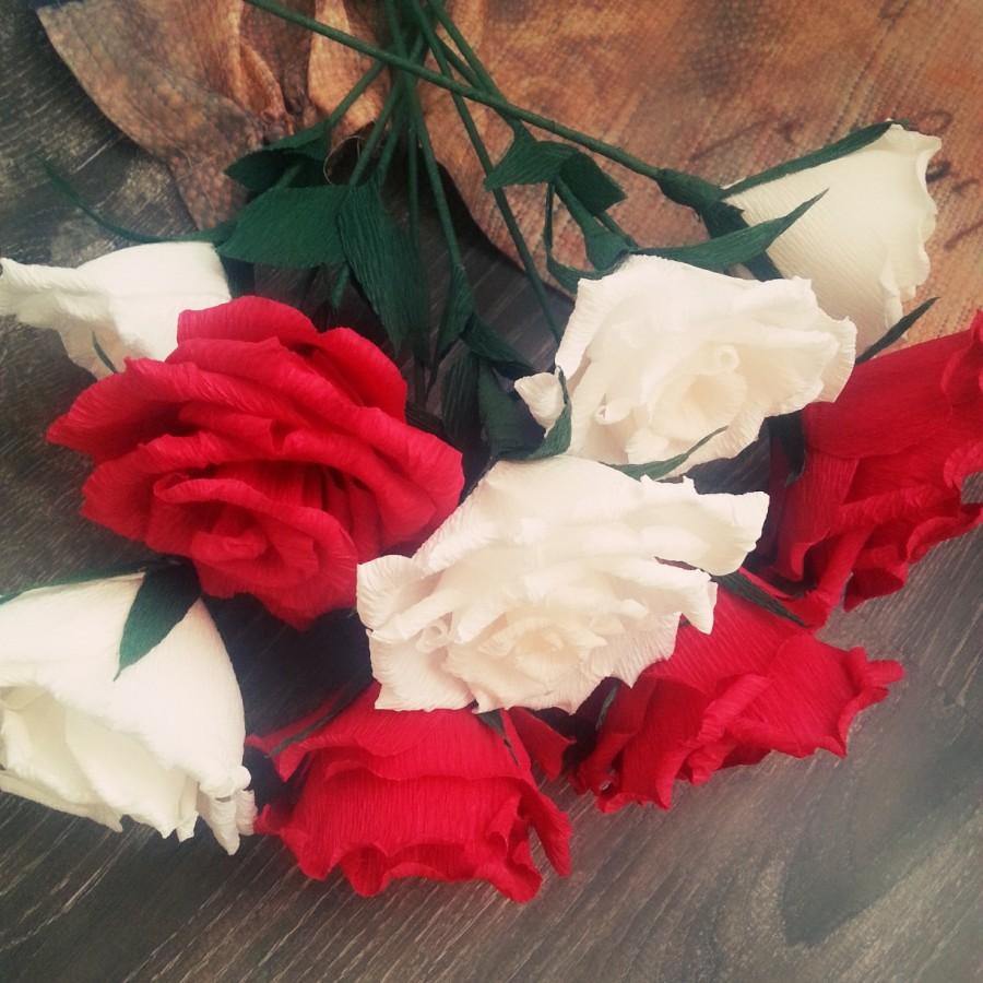 White And Red Crepe Paper Flowers Crepe Roses White Crepe Roses