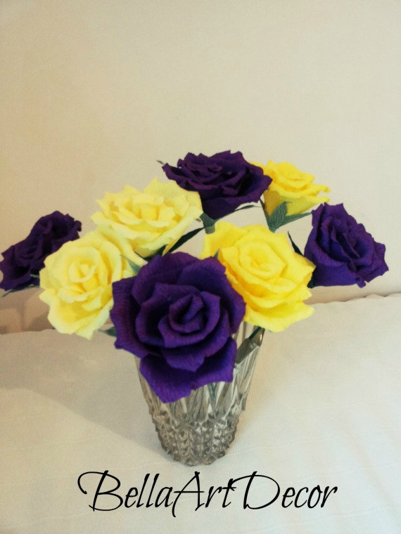 Mariage - 12 pcs of Lemon Yellow, Purple Roses, Bridal bouquet, Wedding bouquet,Crepe Bouquet, Purple Flowers, Floral Arrangement, yellow flowers