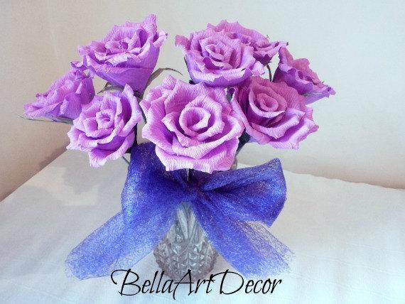 Mariage - 8 pcs Light Purple flowers, Crepe paper roses, Bouquet purple roses, Wedding dcoration, Wedding purple decor, Paper roses