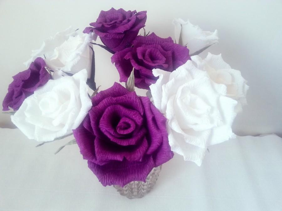 Mariage - Paper Flower, White/Purple Roses, Bridal bouquet, Wedding bouquet, Crepe Bouquet, Creme Purple Flowers, Floral Arrangement