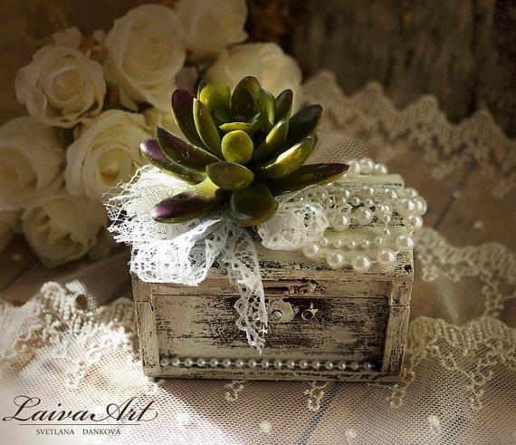 Wedding - Personalized Wedding Ring Bearer Pillow Box Succulents Wedding Ring Pillow Box Rustic Ring Bearer Box Vintage Wedding