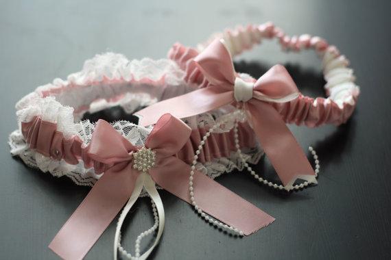 Wedding - Blush Pink Bridal Garter Set  Ivory Lace Wedding Garter Set  Dusty Rose Toss Garter and Keepsake Garter  Lace Bridal Garters, Prom Garter