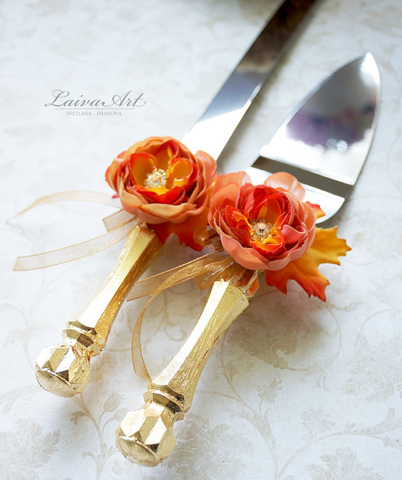 Boda - Gold Fall Wedding Cake Server Set & Knife Wedding Cake Knife Rustic Outdoor Cottage Shabby Chic Wedding