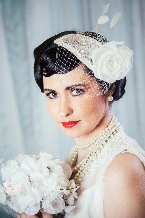 Hochzeit - Cream Bridal Fascinator with Silk Rose and Birdcage Veil - White Bridal Teardrop Fascinator - Ivory Wedding Hat