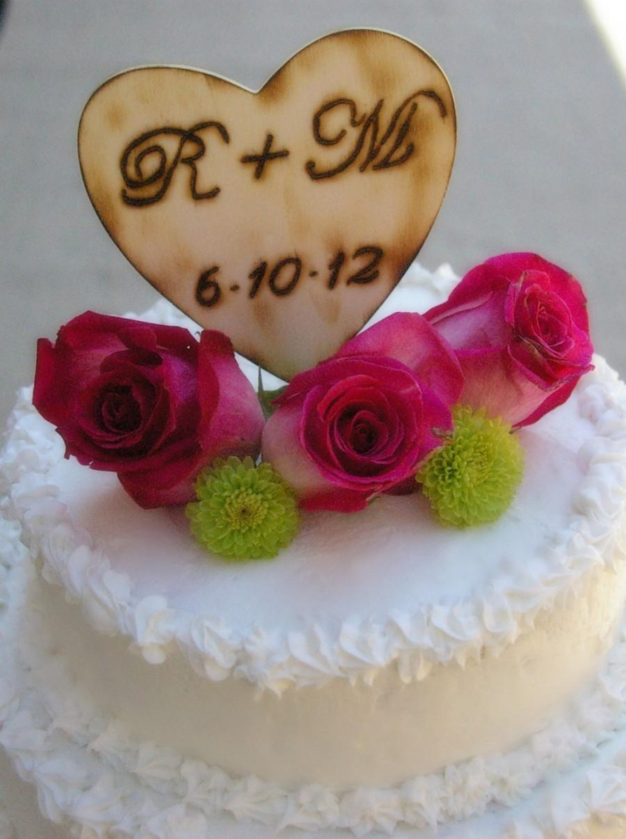 Mariage - CAKE TOPPER Heart Personalized Rustic Beach Woodland Wedding Centerpiece