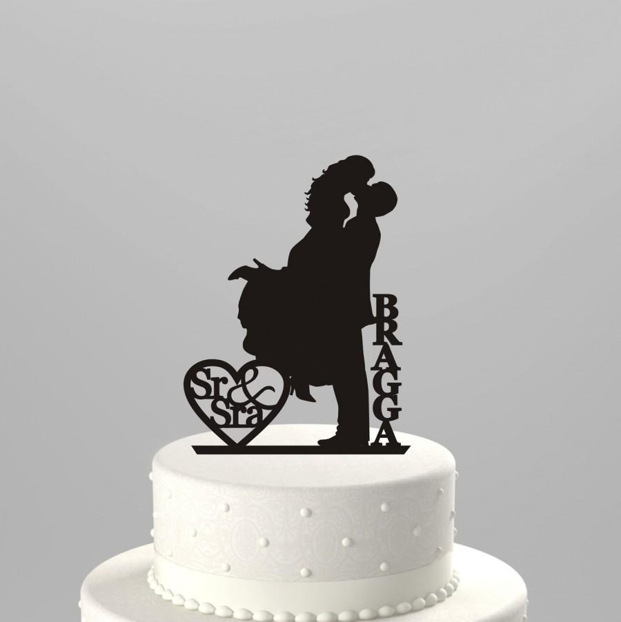 """Wedding - Wedding Cake Topper Silhouette Couple """"Sr & Sra"""" Personalized with Last Name, Acrylic Cake Topper [CT18fs]"""