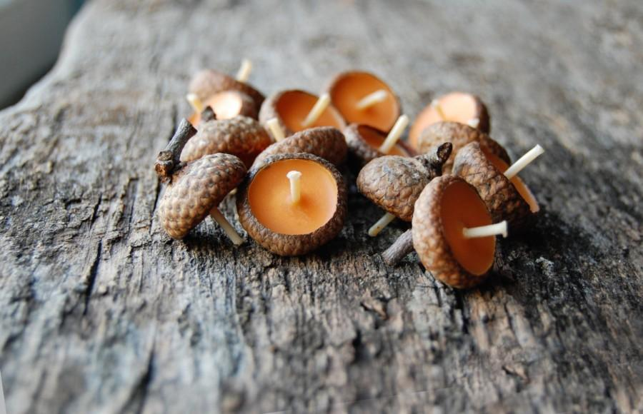 Wedding - Acorn Cap Candle, Eco Friendly Floating Vanilla Scented Candles, Baby Shower Decor Favors, Rustic Decor,  Birthday Candles, Wedding Favors