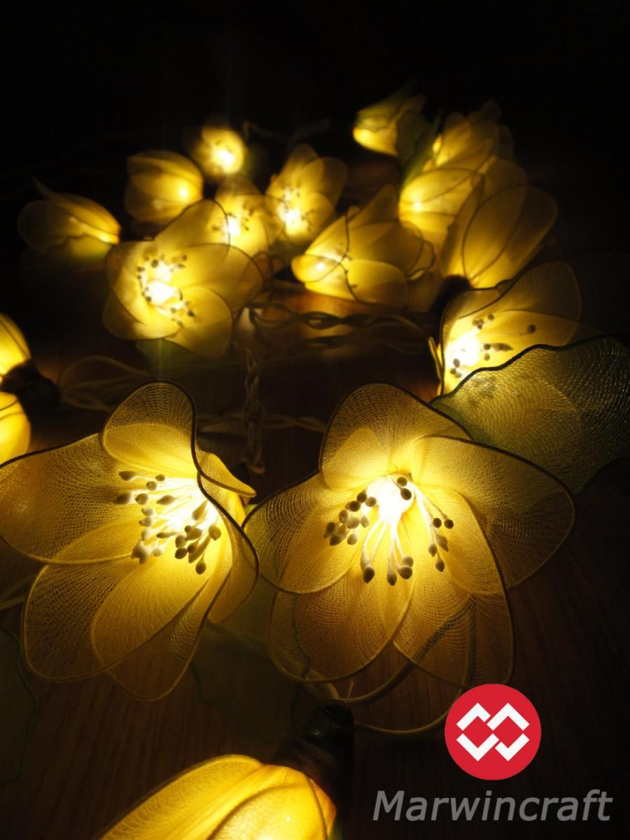 Wedding - 20 Yellow Rain Lilly Flower Fairy String Lights Hanging Wedding Gift Party Patio Wall Floor Garden Bedroom Home Accent Floral Decor 3m