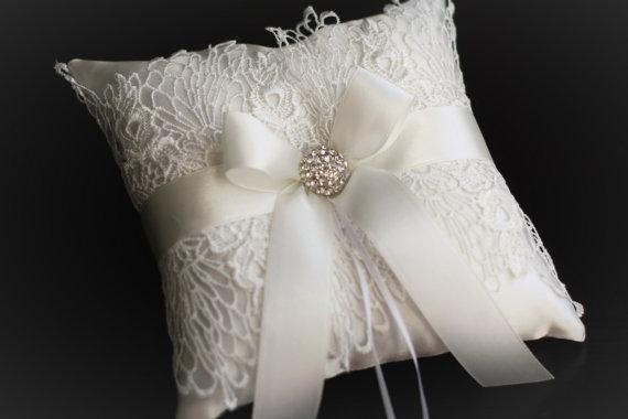 Ivory Satin Flower Girl Basket Ring Bearer Pillow Wedding Ceremony Cushion Lace