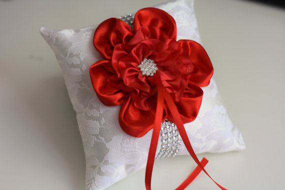 Wedding - Red Wedding Pillow Basket Accessories Set  Off white Red Flower Girl Basket & Ring bearer Pillow  Red Wedding Pillow Basket Set