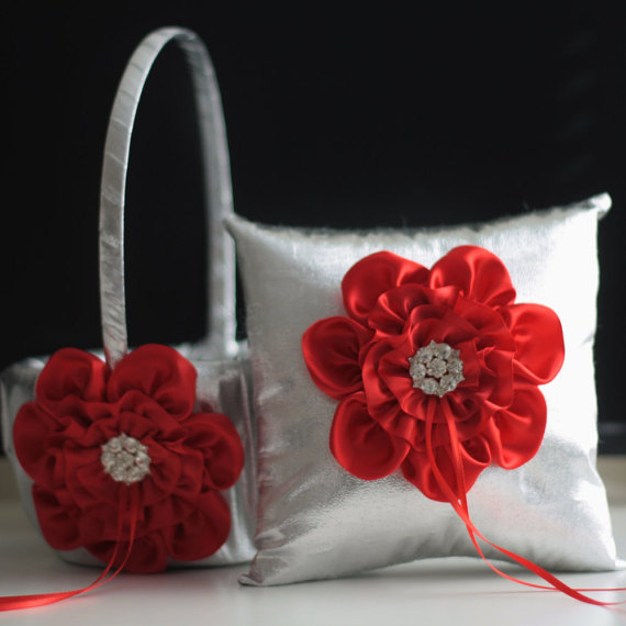 Wedding - Silver Red Flower Girl Basket and Ring Bearer Pillow Set  Silver Wedding Basket with Wedding Ring Pillow with red flower and brooch